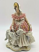 Vintage Very Rare Franz Witter Dresden Germany Countess W/borzoi Dog Figurine