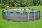 Coleman 22 Ft X 52 In Power Steel Swimming Pool Set W/ Pump Cover And Ladder