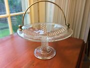 Eapg C 1880and039s Ripley Glass Mascotte Cake Basket Daisy And Button