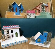 Putz Japan Vintage Christmas Village Lot Of 4 3 To 4 Houses And One Ornament