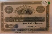 1865 Fifty Pounds The Bank Of Australasia Ipswich Black And White Specimen