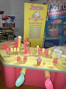 Vintage Barbie Doll Ice Cream Shoppe 1986 Bar Table Chairs Accessories Food