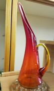 Red Amberina Swung Crackle Glass Large Mid Century Ewer Pitcher 14 5/8 Tall