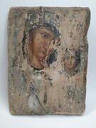 Vintage Antique Rare Old Russian Orthodox Hand Painted Wood Icon The Virgin