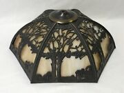 Vtg Stained Glass Lamp Shade Arts And Crafts Deco Mission Style 17 6panel