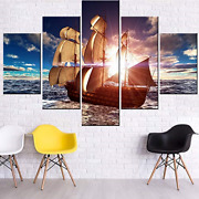 Canvas Art Wall Decor Sailboat At Sunset Pictures For Living Room Fantasy Ship 5
