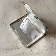 Antique Powder Compact Bag To Hand Metal Silver Vintage