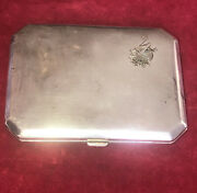 German Art Deco 800/1000 Silver Hinged Lid Card Cigarette Case Dated 1922