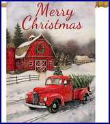 Selmad Merry Christmas 28 X 40 House Flag Red Truck Double Sided Winter Farmhous