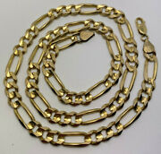 Solid 14k Yellow Gold Figaro Link Chain Necklace Heavy 54.21g 23 7.8mm