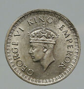 1944b India States Uk King George Vi Antique Silver 1/2 Rupee Indian Coin I91776