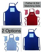 King And Of The Grill Little Chef Aprons +mitts 4pc Matching Set Father Kid