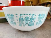 Pyrex Amish Butterprint Mixing Bowl No 403. Turquoise On White 2 1/2 Quarts