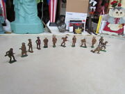 Vintage 1950's Barclay Manoil Wwii Cast Iron Lot Of 13 Soldiers - Most With Guns