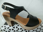 Mustang Womenand039s Sandals High-heeled Ankle-strap Black Leather New