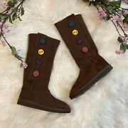 Ugg Brown Cardy Multi Color Buttons Boots Size 5 Youth / Women's 7/7.5