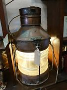Original Antique Ships Lantern With Oil Fittings And Removable Electric Light.