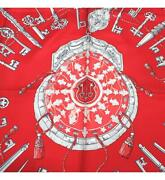 Hermes Carre 90 Large Scarf Les Cles Key Pattern Antique Lock Red No.2161
