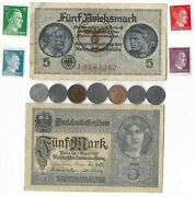 Rare Old Wwi Wwii Germany War Coin Note Ww2 German Collectible Collection Lot C5