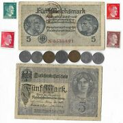 Rare Old Wwi Wwii Germany War Coin Note Ww2 German Collectible Collection Lot C6