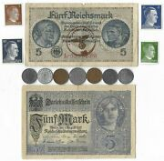 Rare Old Wwi Wwii Germany War Coin Note Ww2 German Collectible Collection Lot C8