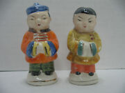 Vtg Asian Oriental Couple Man And Woman Salt Pepper Shakers Occupied Japan, Mint
