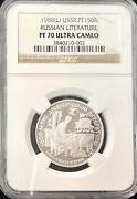 1988 L Ussr Russian Literature 150 Roubles Platinum Coin Ngc Pf 70 Ultra Cameo
