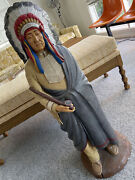Vintage 38 Hand Painted Indian Chief W Peace Pipe Chalkware Statue Signed