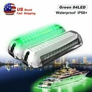 2pairs Green 84led Ip68+ Boat Light Stainless Steel High-intensity Underwater