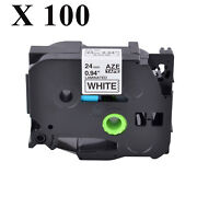 100pk Tz-251 Tze-251 Black On White Label Tape For Brother P-touch Pt-9400 24mm