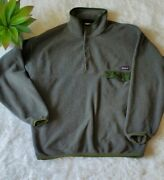 Synchilla Snap-t Fleece Pullover Menand039s Large Gray With Green Accents