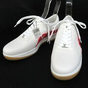 Pre-owned Authentic Louis Vuitton Men's Sneakers Leather 8 White / Red 1a3eq5
