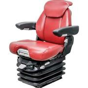 Fits Case Ih 9100 And Steiger Km 1061 Seat And Air Suspension - Red Leatherette
