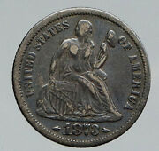 1873 United States Us Silver Seated Liberty Vintage Antique Old Dime Coin I91803