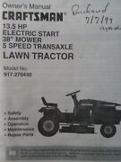 Sears Craftsman 13.5hp 38 5sp Ride Lawn Tractor 917.270430 Owner And Parts Manual