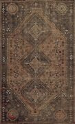 Antique Pre-1900 Geometric Abadeh Area Rug Hand-knotted Oriental Wool 6x9 Carpet