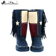 Montana West Texas Pride Collection Boots Navy Blue 8 E99