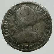 1787 Mexico Under Spain King Charles Iii Silver Antique 2 Reales Old Coin I91861