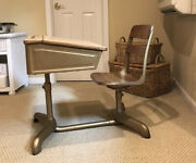 Vtg Childs School Desk, Swivel Chair, Ink Hold, Wood And Iron, Retro Mid Century