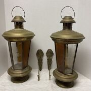 """Two Antique Candle Lanterns Brass W/ Etched Glass Panels Hexagons 21"""" Beautiful"""
