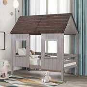 Twin Size Low Loft Wood House Bed Frame With Front Windows For Kids Girls Boys