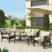 4-piece Rattan Sofa Seating Group With Cushions Outdoor Ratten Sofa Set Us Stock