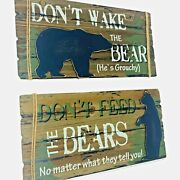 Set Of 2 Dont Feed The Bears Dont Wake The Bear Signs Lodge Cabin Wall Tabletop