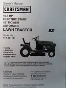 Sears Craftsman 16.5 H.p 42 Riding Lawn Tractor Owner And Parts Manual 917.271141