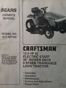 Sears Craftsman 12.5 H.p 38 6-sp Lawn Tractor Owner And Parts Manual 917.257350