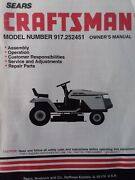 Sears Craftsman 12.5 H.p 38 5-sp Lawn Tractor Owner And Parts Manual 917.252451