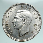 1951 South Africa George Vi Springbok Deer Silver 5 Shillings Large Coin I90965