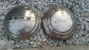 Two Vintage Ford 1940's-50's Ford Dog Dish Hubcaps