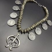 Old Navajo Mercury Dime And 50¢ Standing Liberty Coin Silver Necklace Cast Naja