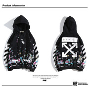 Off White Ow Fireworks Starry Sky Pure Cotton Hoodie Couple Jacket Men And Women